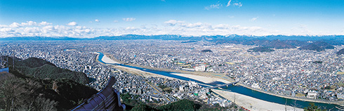 A view from the top of Gifu Castle (toward Nagara River)