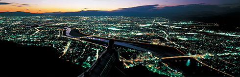 A panorama night view from the top of Gifu Castle (toward Nagara River)